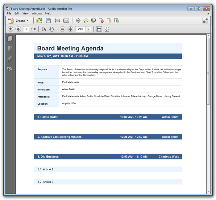Meeting Agenda Example  Agenda Meeting Example